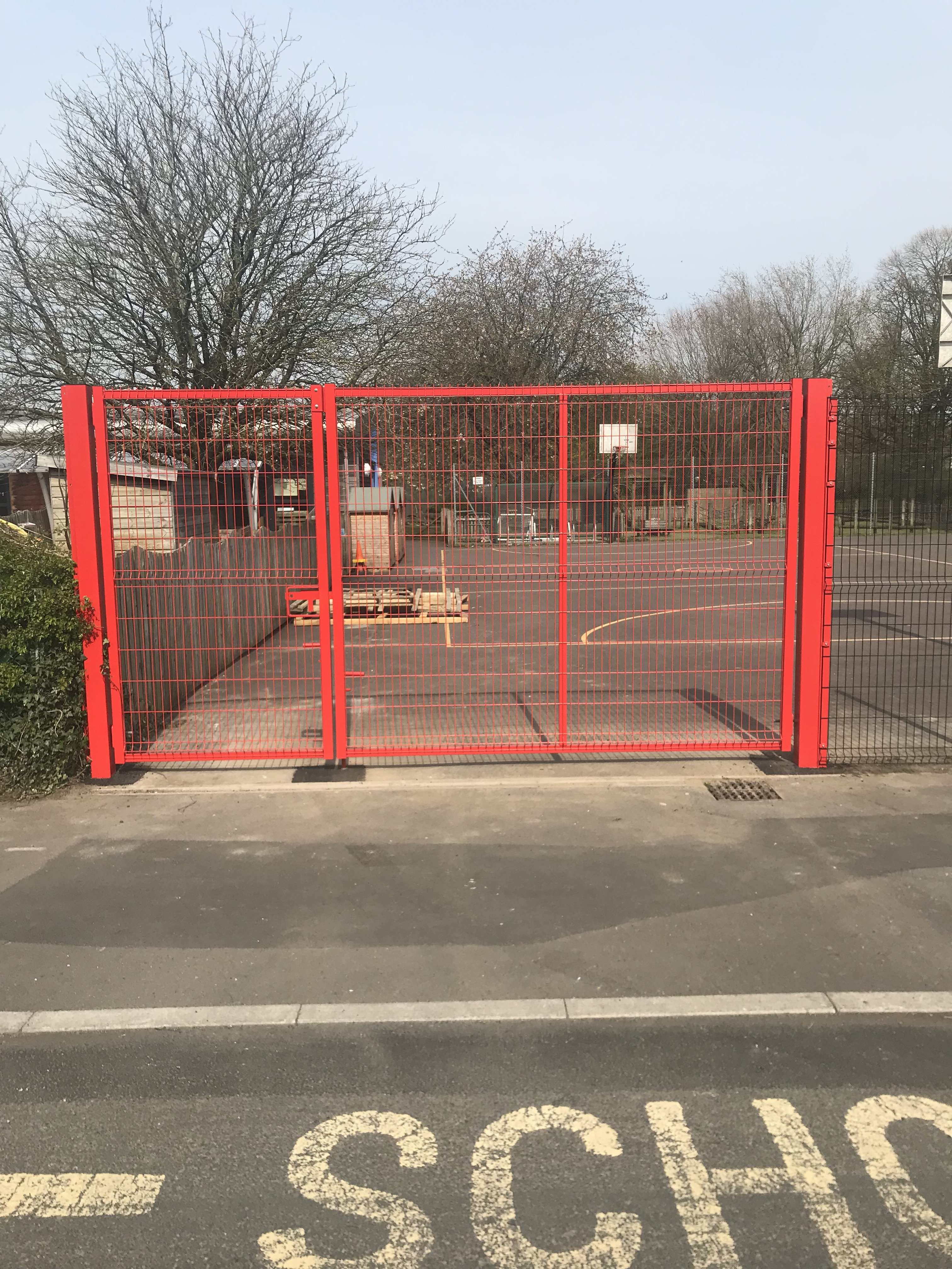 2.4m high unequal V mesh gates powder coated in various colours