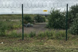 2.4m high V Mesh security fencing with razor wire, Somerset