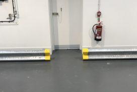 Sprung low level barrier beam, warehouse in somerset
