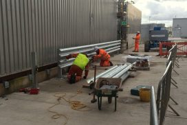 Double tier bolt down crash barrier Hitachi Zosen Inova, Avonmouth, Bristol