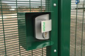PANIC PUSHPAD WITH KEYED ACCESS FROM OUTSIDE